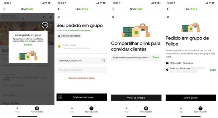 Uber Eats - pedido em grupo