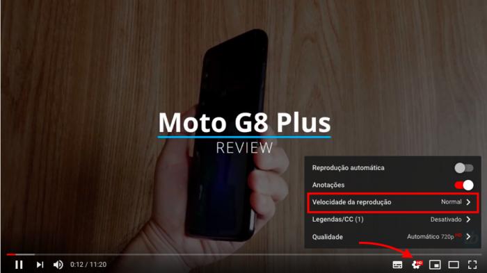 opção para aumentar velocidade de reprodução do vídeo no youtube