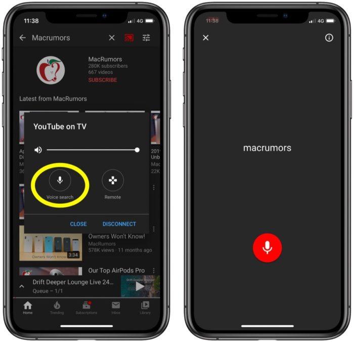 YouTube permite enviar comandos de voz do celular para a TV (Foto: Reprodução/MacRumors)