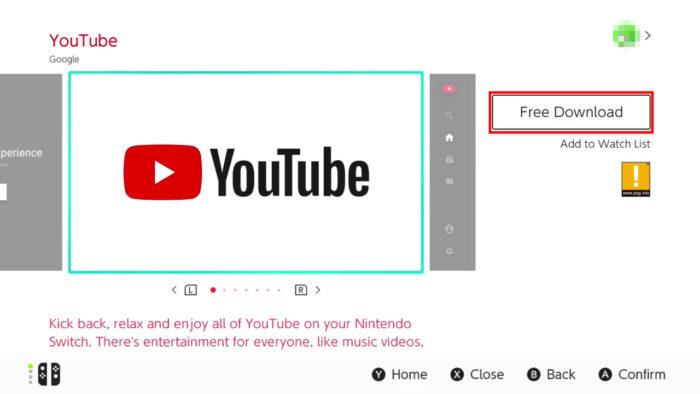 App do YouTube no Nintendo Switch (Imagem: Reprodução/Nintendo)