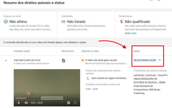 selecionar ação para vídeo reivindicado como direito autoral no youtube
