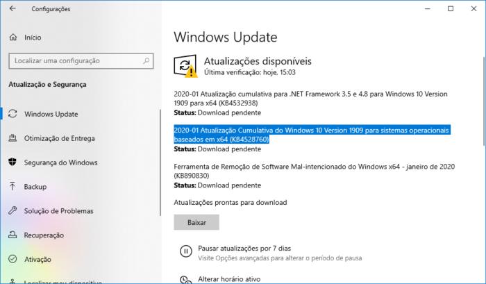 Atualização do Windows 10