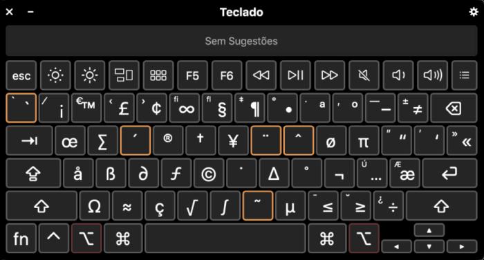 teclas mortas para colocar símbolos no mac