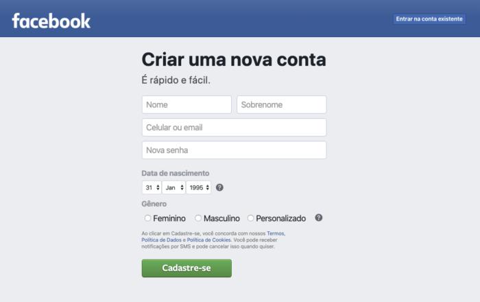 Como cria rum Facebook NOVO