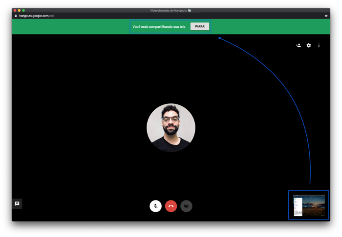 Como encerrar o compartilhamento de tela do Hangouts do Google