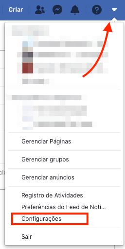 acessar configurações do facebook