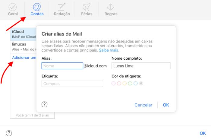 criar um alias com o iCloud mail