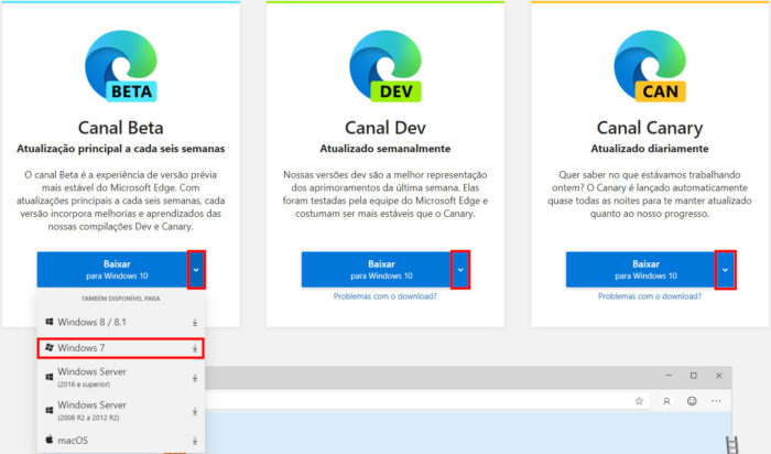 Microsoft / página de download / Microsoft Edge Windows 7