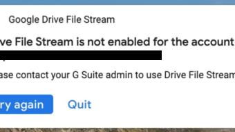 """Google Drive teve instabilidade com erro de que File Stream """"não está ativado"""""""