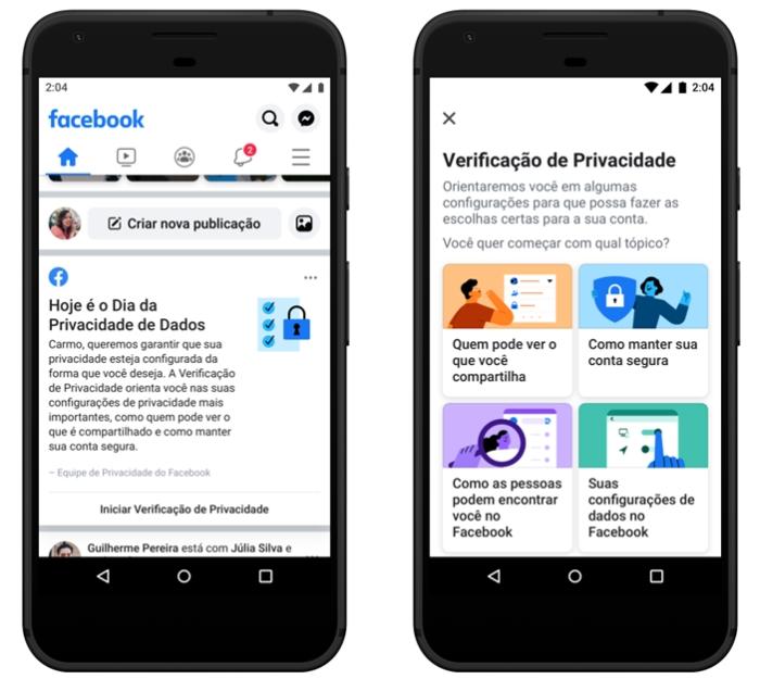 Facebook - verificação de privacidade