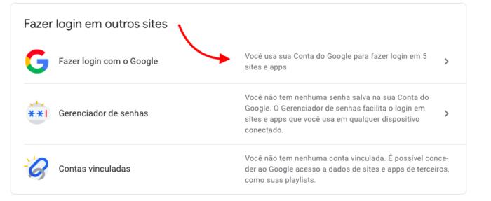 sites e apps que usei o login do google