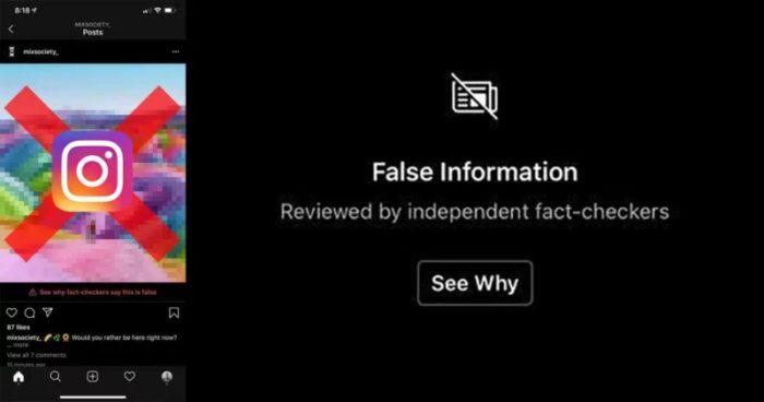Instagram - foto sinalizada como falsa