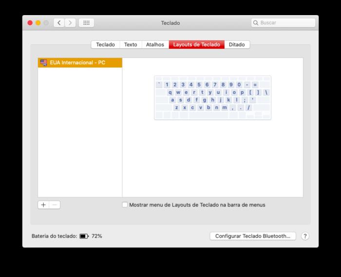 layout de teclado no mac