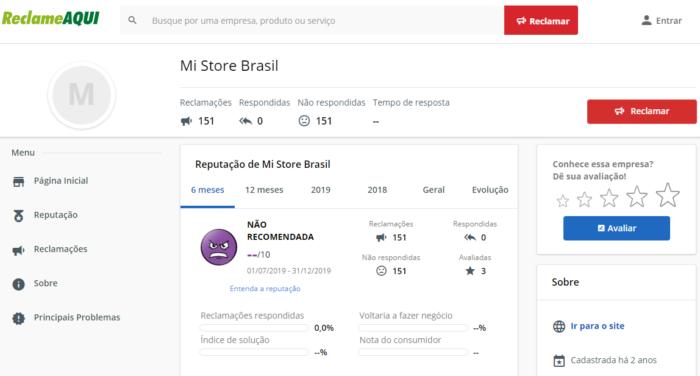 Mi Store Brasil no Reclame Aqui