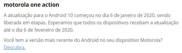 Motorola One Action: atualização para Android 10 começou em 6 de janeiro de 2020