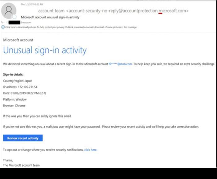 Endereço falso de phishing em nome da Microsoft