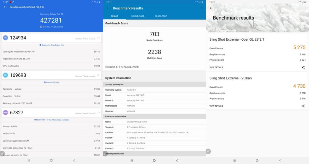 Desempenho do Tab S6 no AnTuTu, Geekbench e 3DMark