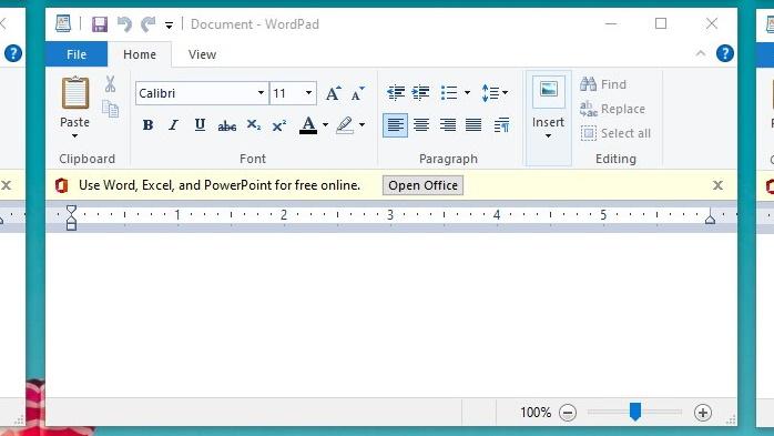 WordPad com anúncio do Office Online no Windows 10