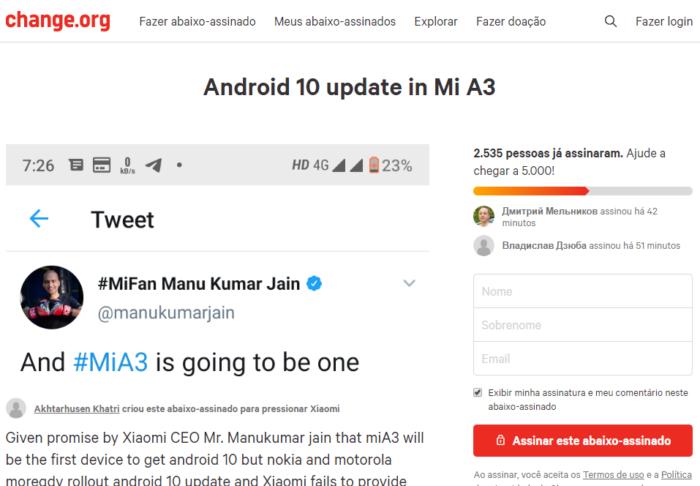 Petição para Android 10 no Xiaomi Mi A3