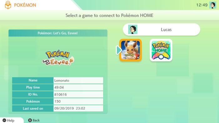tela para escolher de qual jogo será transferido o Pokémon