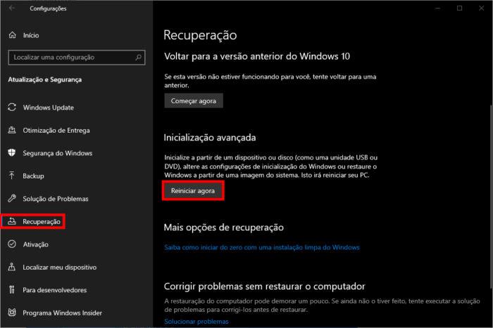 Microsoft / Windows 10 / como desativar o modo de segurança
