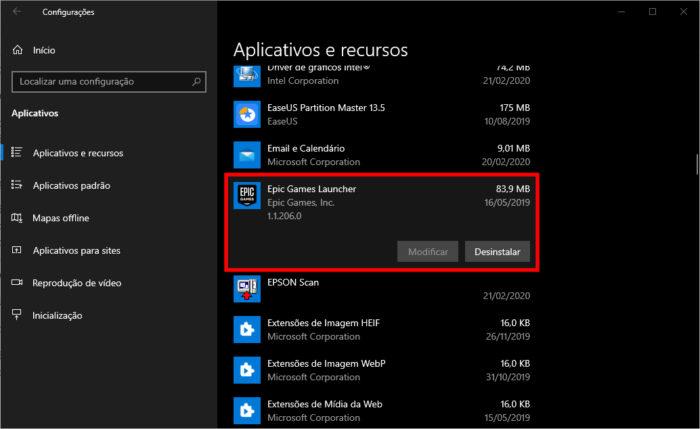 Microsoft / Windows 10 / como desinstalar Epic Games