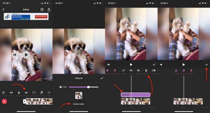 remover áudio do vídeo pelo inshot
