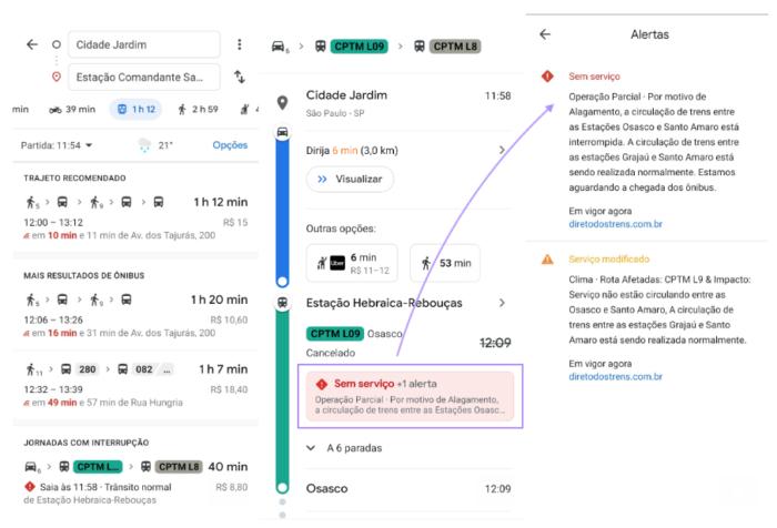 Alertas de Transporte Público - Google Maps