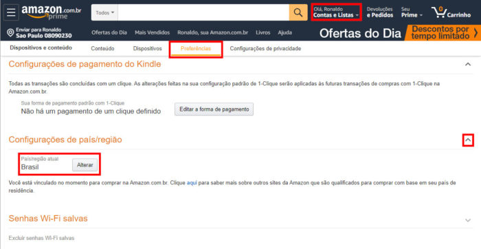 Amazon / configurações de conta / mudar país amazon prime