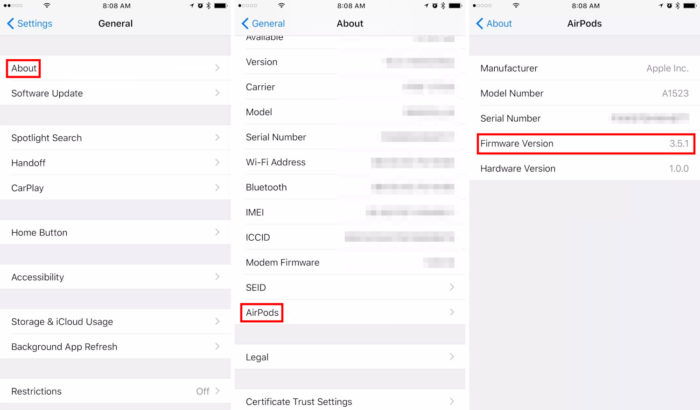 Apple / Ajustes do iPhone / airpods firmware