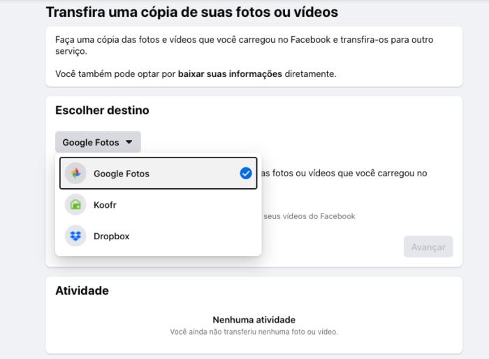 opção de baixar fotos do facebook para o google fotos