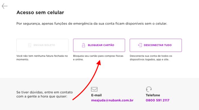 bloquear cartão nubank pelo site (sem celular)