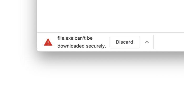 Bloqueio de download inseguro no Chrome