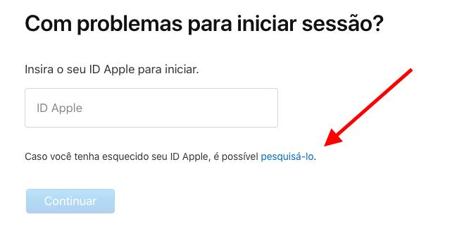 opção para descobrir id apple