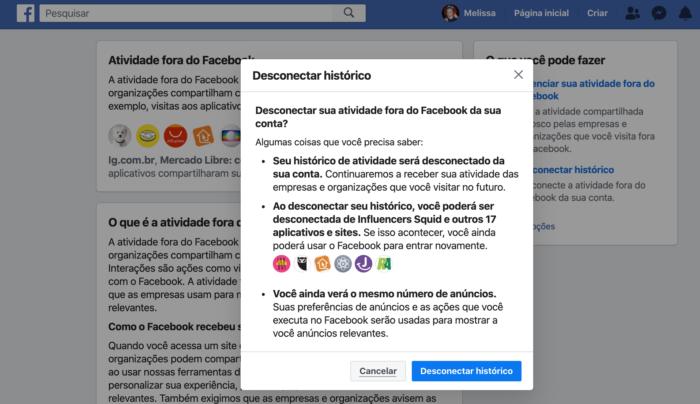 Desconectar Histórico de Atividade Fora do Facebook