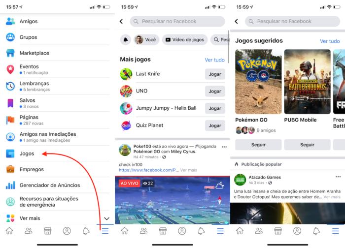 acessar o facebook gaming pelo aplicativo