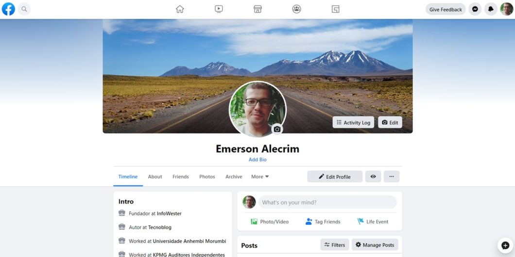 Facebook - novo layout da página de perfil