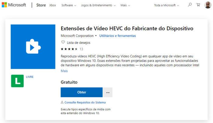 Microsoft / Extensões de Vídeo HEVC do Fabricante do Dispositivo