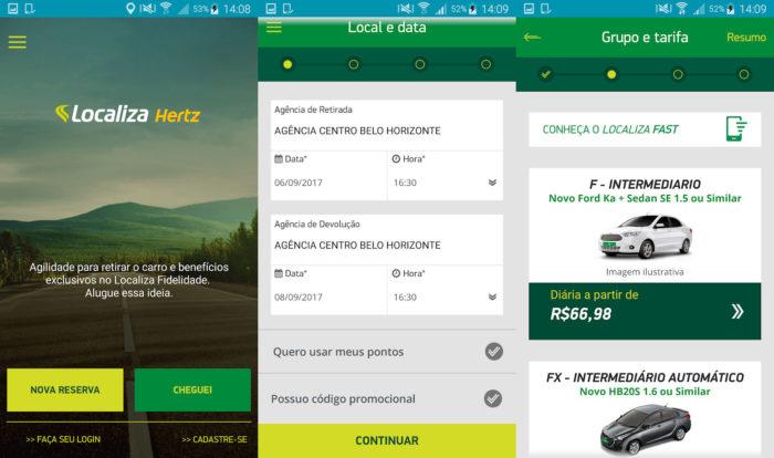 Android / Localiza Hertz / aluguel de carros