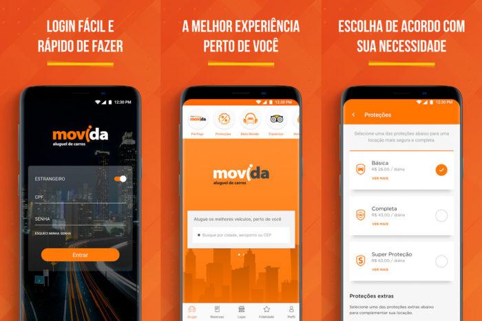 Android / Movida / aluguel de carros