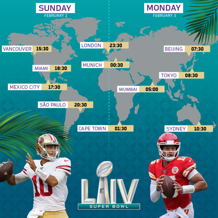 Que horas vai ser o Super Bowl