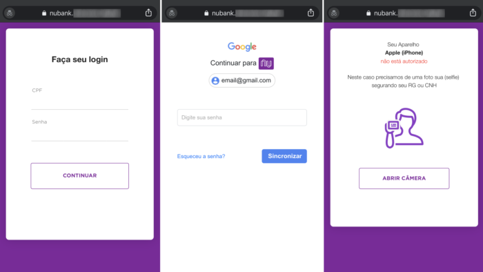 Scam that steals Nubank password and Google asks for selfie with RG