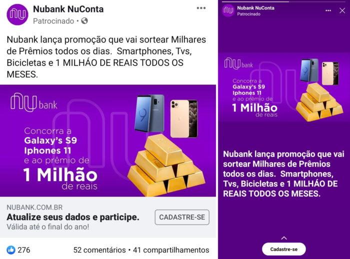 Nubank golpe Facebook Instagram