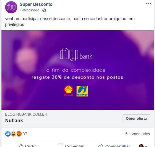 Nubank golpe Facebook