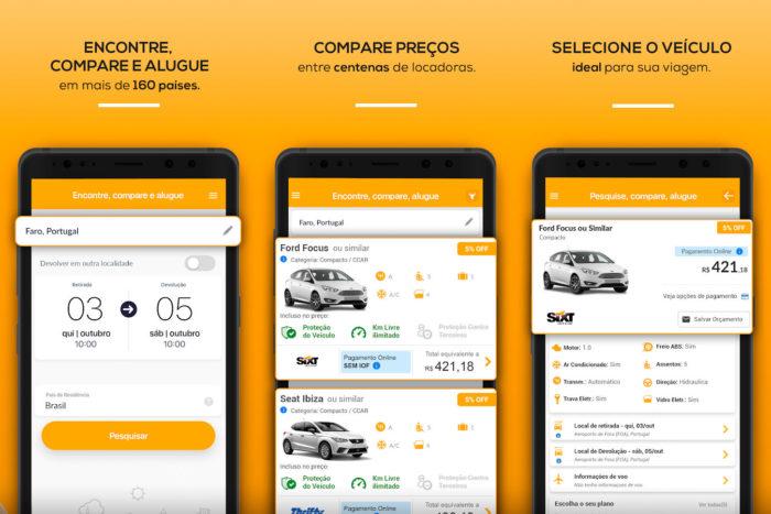 Android / Rentcars.com / aluguel de carros