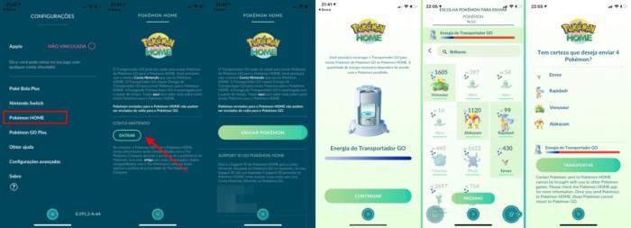 Transferência do Pokémon GO para o Home (Imagem: Reprodução/Pokémon GO)