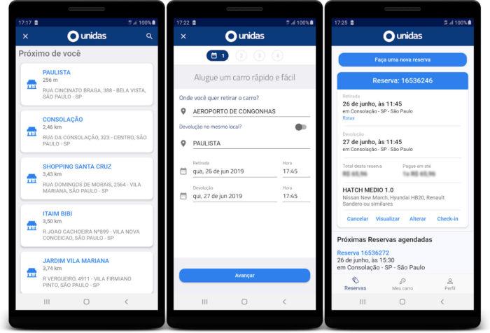 Android / Unidas / aluguel de carros