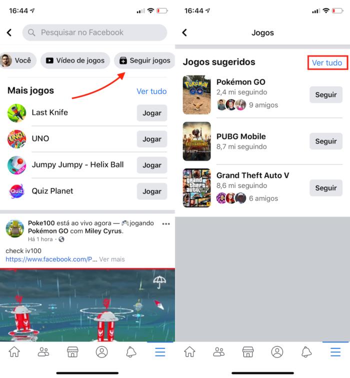 Encontrar jogos para seguir no facebook gaming