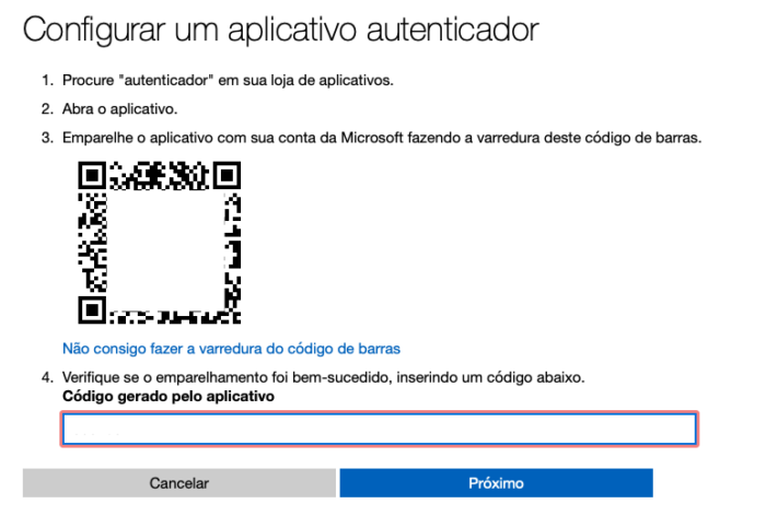 concluir configuração da verificação em duas etapas no Outlook