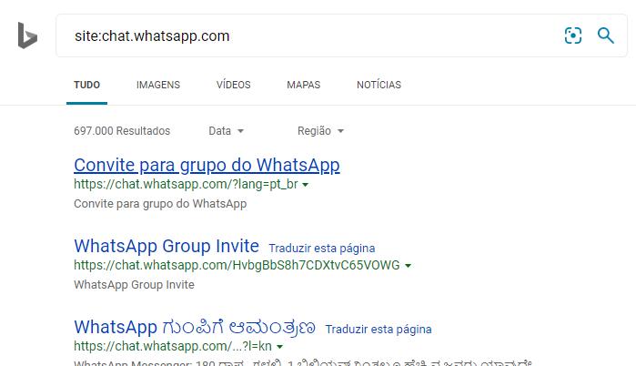 Convites do WhatsApp no Bing